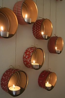 Take tuna cans, decorate them, and add a candle
