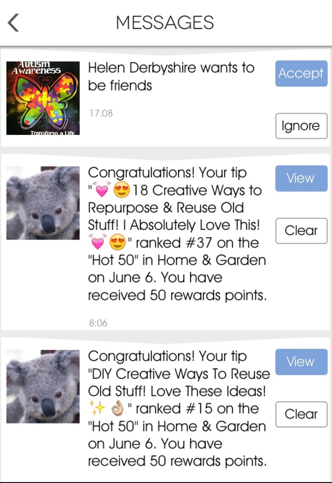 To read messages where it will notify you if any of your tips have been ranked as 'Hot Tips' as well as any friend requests, then tap on the letter mailbox which looks a bit like this: 💌 on the top right hand corner of your profile page.