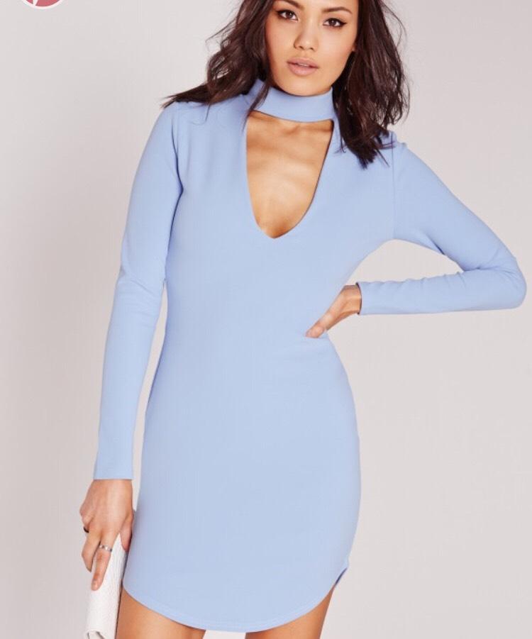 Missguided crepe choker curve hem body on dress - £18.00
