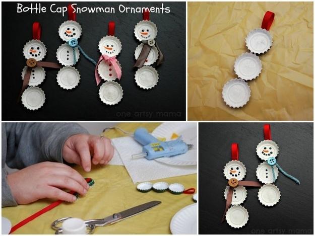 6. Bottle Cap Snowmen