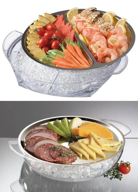 14. Iced Party Platters Although simple in design, this 2 piece set of iced platters is the smartest way to keep food chilled while outside in the summer heat. Perfect for entertaining!  Check out here -- http://www.amazon.com/gp/product/B0023UHJ5E/