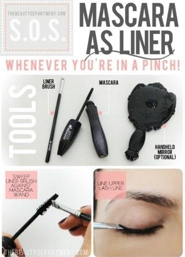 11. If you've run out of eyeliner, but have mascara, it can do double duty. Use your liner brush to swipe a bit of mascara, and use it to line your upper lashes.
