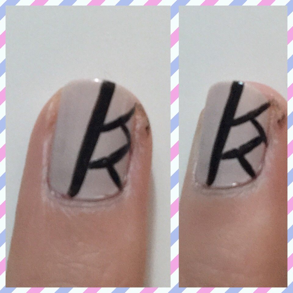 Now take a striper and add five black lines on one of your nails just like the picture above!