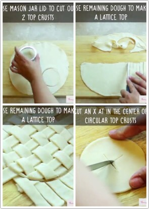 """5. Unroll the second pie crust. For a decorative crust, use a mason jar lid to cut out circles for the top crusts. Use a knife to cut two slits in the center, forming an """"x,"""" for a vent. To make a lattice crust, cut about 40 strips of the pie dough,weave together into a lattice pattern."""