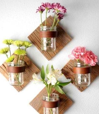 Wood Panels and Jar Wall Plant Decor