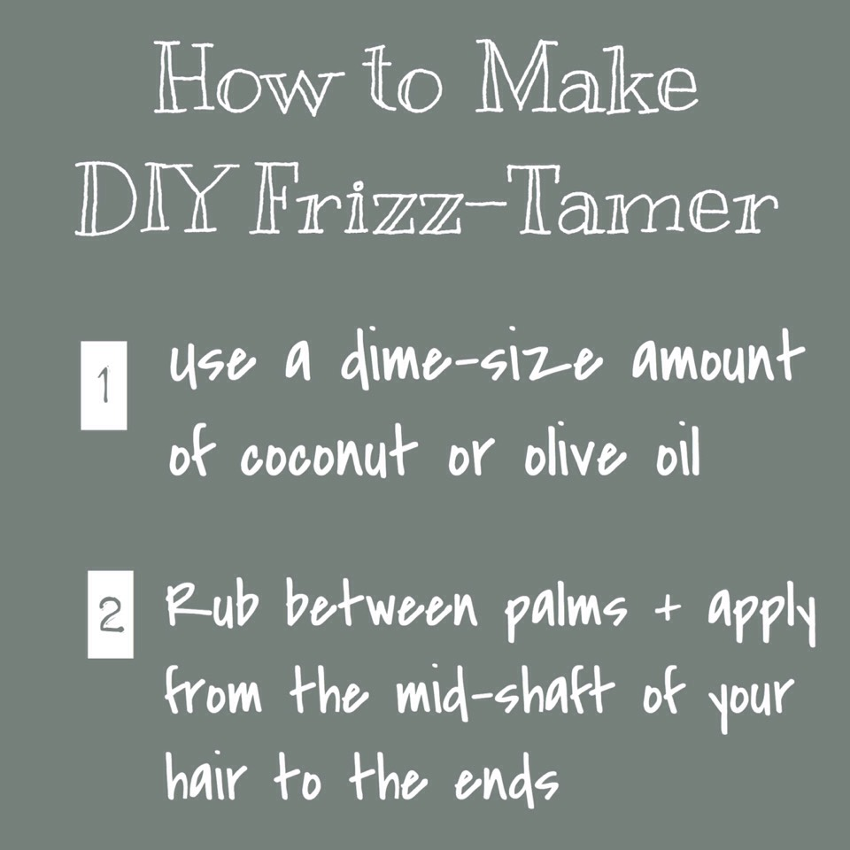 FRIZZ-TAMER | Need something to smooth flyaways? Coconut + olive oil. Use a dime size amount on your palms + lightly rub from the midshaft to the ends of your hair to help fight frizz!
