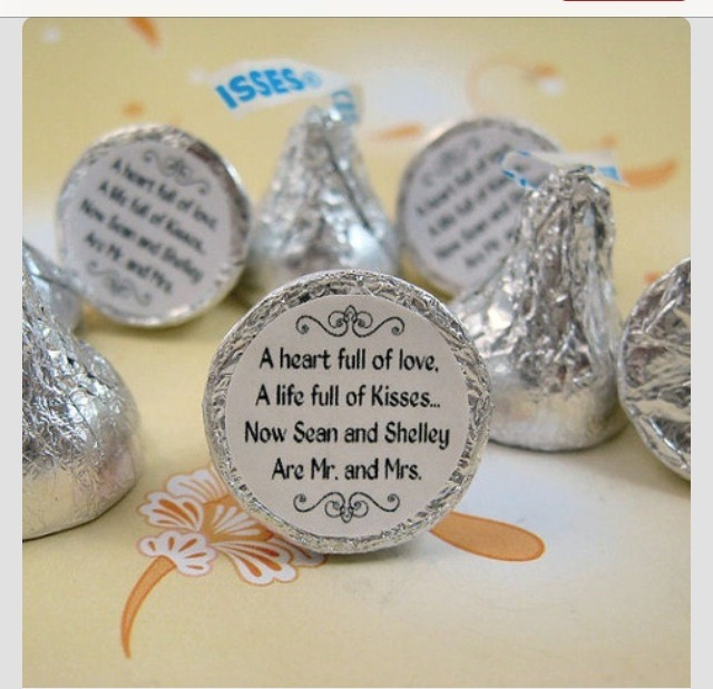 Mr. & Mrs. Kisses stickers. Personalized wedding Hershey's.