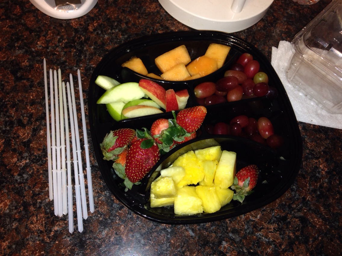 Used a precut fruit tray and plastic sticks