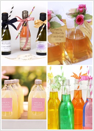 Turn a drink into memorable party favor. Use champagne for adults and soft drinks for kids (that way they don't feel left out).