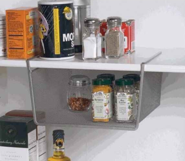 Under-shelf attachment for extra storage in your cabinets. ($11.76)  http://www.organize.com/silver-mesh-under-shelf-basket-by-design-ideas?___store=default&nosto=nosto-page-search2