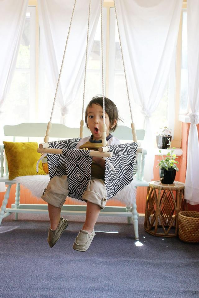This type of swing is both fun and safe for babies that are strong enough to sit up on their own, and all materials used are built to hold up to 180 pounds.