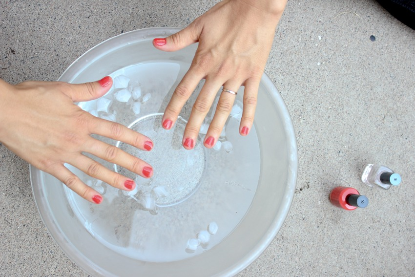 After you paint your nails and your in a hurry to get them dry just gently set them in a bowl of ice cold water for a minute or so, then when you take them out they will be dry!