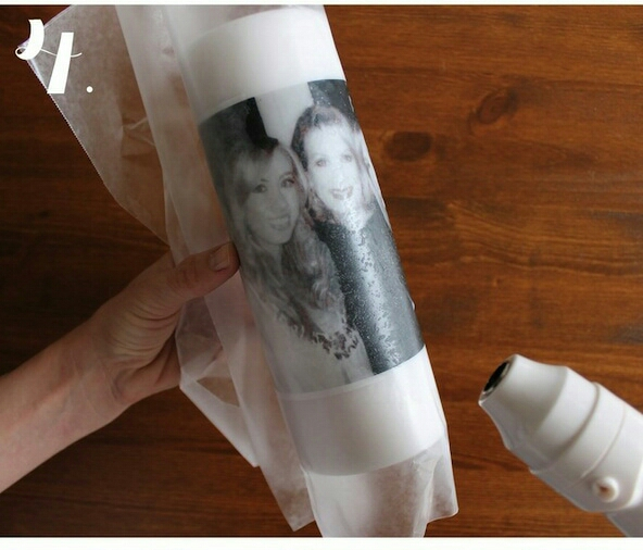 Step 4: Apply heat to the image using your embossing heat gun. (If you use a hairdryer for this process, use a diffuser attachment or wear gloves to protect your skin from the heat.) Continue applying heat to the image until you see the ink coming through (it becomes darker and clearer).