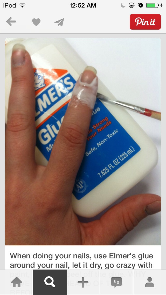 When doing your nails,use Elmer's glue around your nails,let it dry,go crazy with paint,and peel of the glue