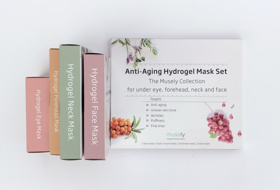 Musely's Anti-Aging Hydrogel Mask Set Musely's Anti-Aging Hydrogel Mask Set contains hydrogel masks for your under eyes, neck, forehead, and face. They feed your skin with intense hydration while fighting wrinkles, dark spots, dryness, and puffiness. Wear one overnight and wake up with recovered skin.