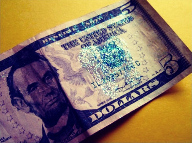 With some glue and glitter, turn your money into 'tooth fairy money'