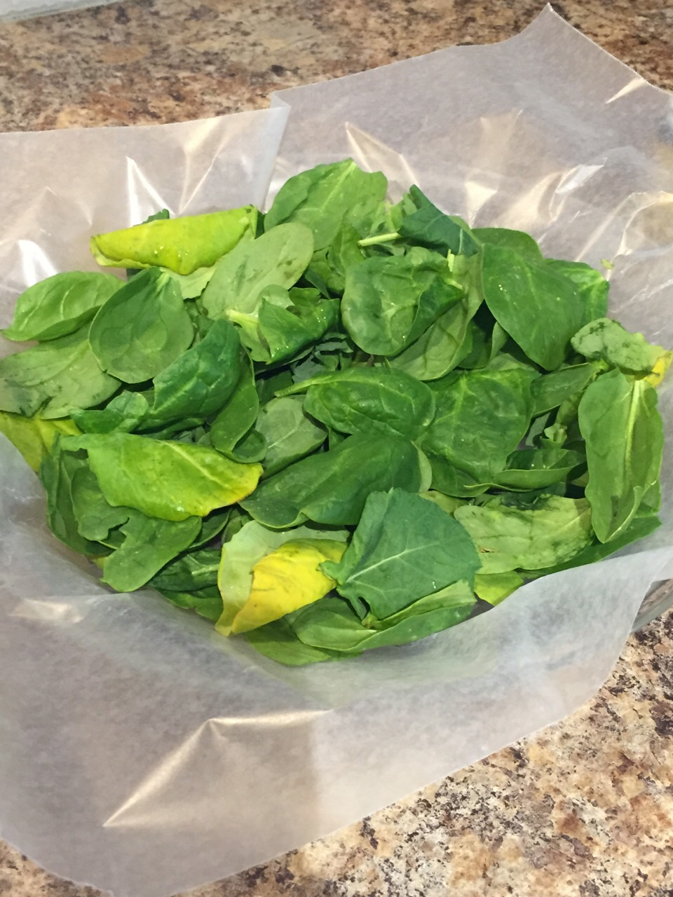 Add a few drops of lemon oil to wax paper and coat with fingers, rinse and take off any stems and place on wax paper.  Put in freezer to freeze. When greens have frozen transfer them into a freezer bag to keep fresh until you can use them or portion into smaller bags for quick recipes