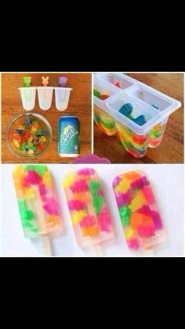All you need is : - Sprite  - some gummy beats or similar sweets of your choice - Popsicle containers