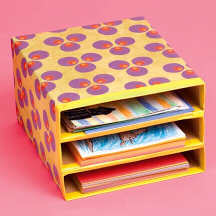 Stack and decorate cereal boxes to create the perfect organizer!