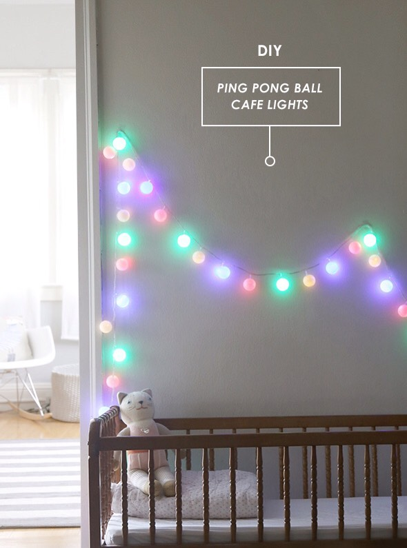 Did you know you can make these cafe lights from a strand of LED lights and ping pong balls? It will cost you about $16 with plenty of extra ping pongs to spare for another strand. The LED part is crucial- don't use regular twinkle lights. LED lights don't get hot and so it's safe to add the balls
