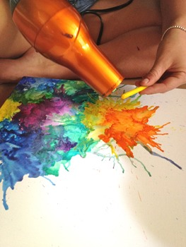 Use a hair dryer to make splatters! Tilt the canvas to create drippings!