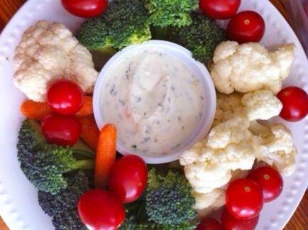 Creamy Yogurt Ranch Dressing  These veggies dipped in low-fat yogurt and herbs will disappear in minutes!