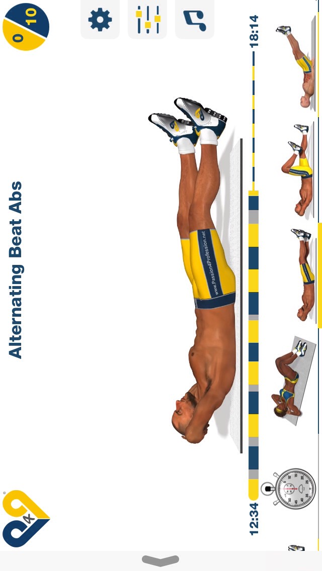 alternating beat abs, lay on your back & keep your feet about 1-2 inches off the ground and kick them up & down; 10 reps.
