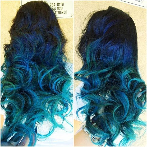 DARK BLUE HAIR WITH TEAL TIPS: Teal highlights will make your blue locks stand out even more. The look is bold, vibrant and beautiful. We love everything about it!
