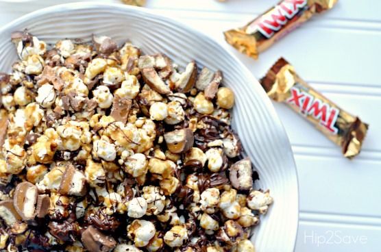 3. Place popcorn on two large shallow baking sheets and bake in preheated oven, stirring every 15 minutes, for about an hour. and Remove popcorn from oven and let cool completely. (It was a little cumbersome trying to stir on a large baking sheet. Using a spatula in one hand and large oven mit)