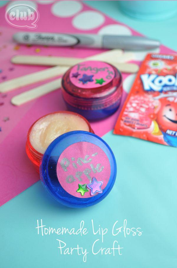 Kool-Aid flavor homemade lip balm for the girls to make for each other to take home