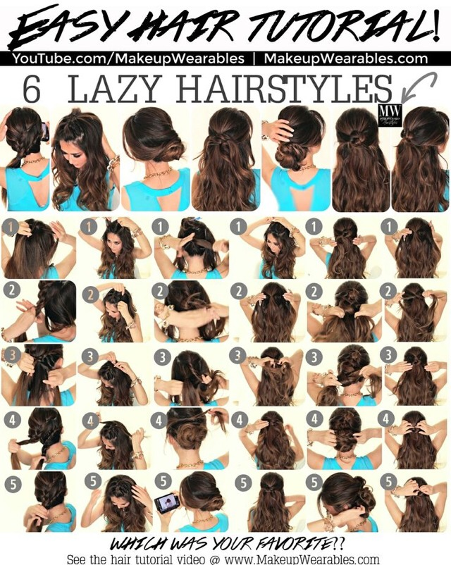 6 Lazy Hairstyles 5 Minute Easy Everyday Hair Style By Linxma