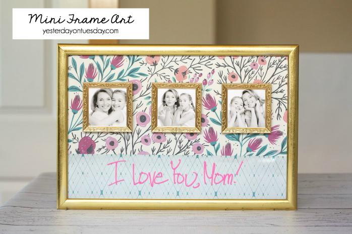 Grab some scrapbooking paperand some photos.  Write a cute message on the bottom half of the paper and frame it.  An easy project, but it's definitely a genuine gift.