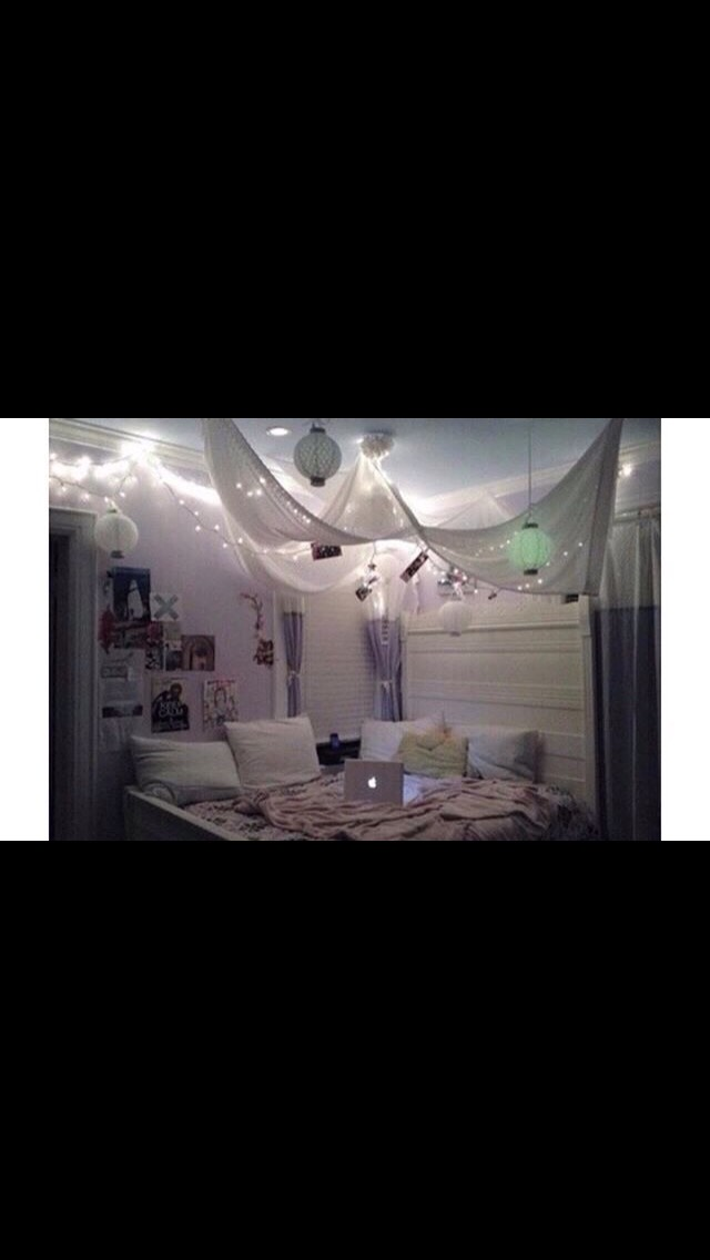 The use of led lights also adds to the room to make it cozy. Here they also have a canopy like thing above their bed with the lights.
