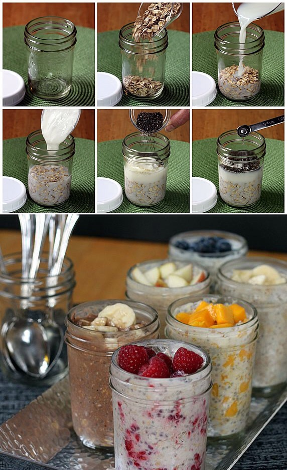 Make overnight no cook refrigerator oatmeal .. Tap pic for full view