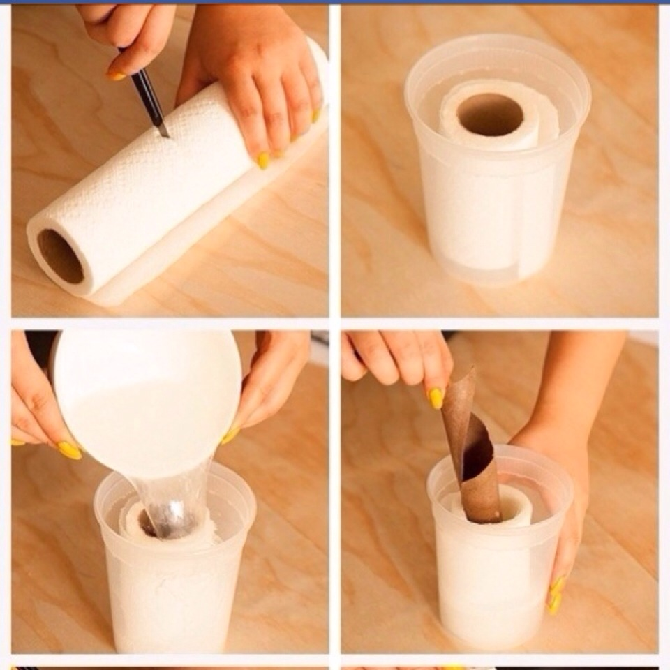 cutting a roll of paper towels in half, placing in container. Dip the wipes in this mixture and put them in a zip loc bag.