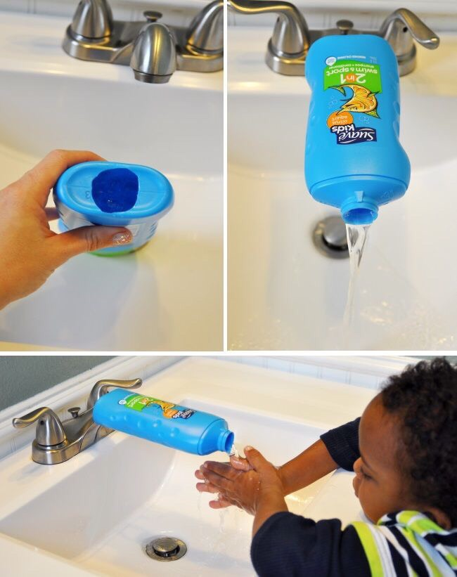 Help your little party goers wash their hands. Make a sink extension from a suave shampoo bottle for your Green the Game bash with @UnileverUSA