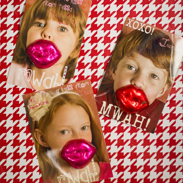 """Valentine's Day Kiss: We are """"LOL-ing"""" at the photo cards. So adorable! Make sure your little one is photographed doing a kissy face so the kiss still stays after the candy is eaten!"""