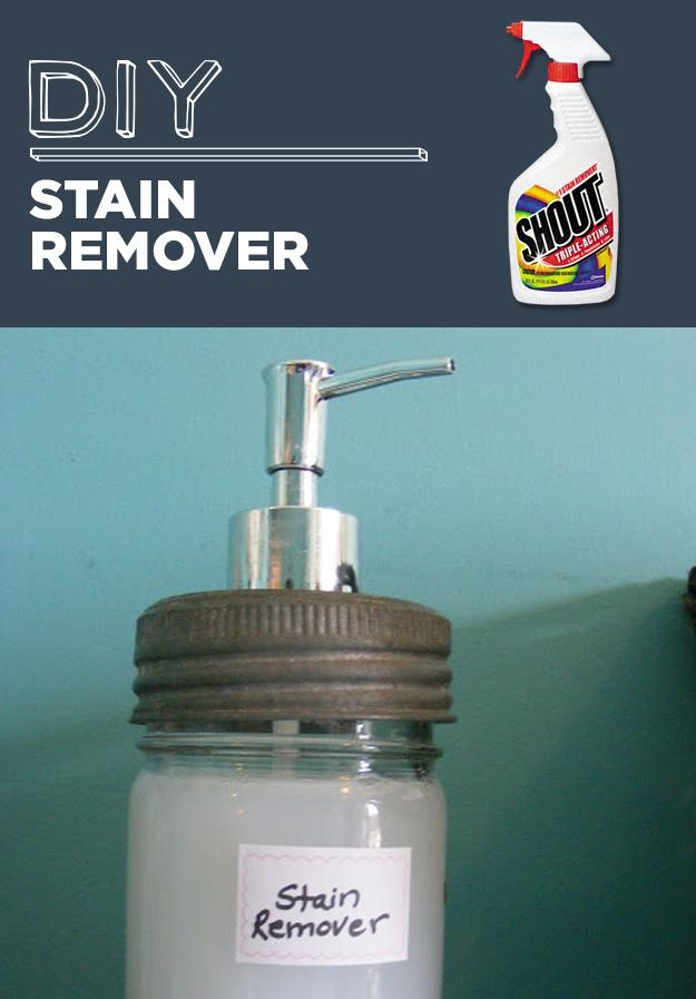 17. DIY Stain Remover In a spray bottle, add 1 part hydrogen peroxide, 1 part baking soda, and 2 parts water.