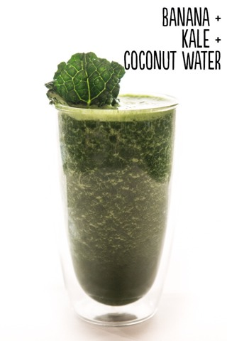 How to: Place 1 peeled frozen banana, ½ cup frozen kale, and ½ cup coconut water into a blender. Blend until smooth. Serves 1.  Extras: Add a boost of protein powder, a handful of raw almonds, or ¼ cup frozen blueberries.