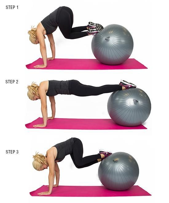 Plank Tuck Twist with Stability Ball: This exercise will really bring the sweat! It works both arms, legs, and abs, and even seems to defy gravity! Use your core in order to keep yourself balanced. Beginner: 3 sets of 10 per side Advanced: 3 sets of 12-15 per side
