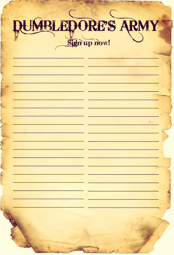 You can make the sign in sheet a Dumbledores Army paper.