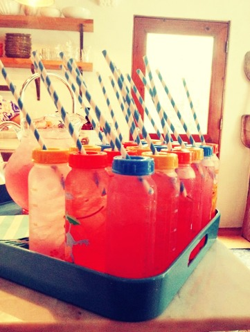 Reusable bottles! - serve guest lemonade or any other beverage, rinse and reuse for the baby!