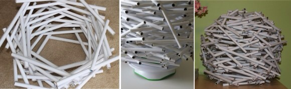 Using a glue stick, glue the ends closed. Using the paper color you desire, cover the tubes. Cut the ends of each tube using gardening shears. Start gluing the tubes together (think of a bird's nest) stacking them on top of each other to make the shape