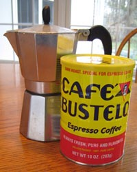 What u need. Espresso maker ($5.99) at Ross tjmax Marshall's probly could be found cheaper . And bustelo espresso coffee most super markets carry this but if you can find a Latin grocer will have it .. This brand is very important to authenticate the flavor
