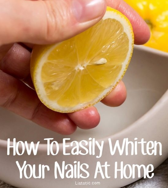 2.  Lemon Juice & Baking Soda – Squeeze half of a lemon (or more) into a plastic bowl, and then add and blend baking soda until you get a nice abrasive paste-like texture. Then use an old toothbrush to scrub your nails with it. Rinse, and repeat if needed.