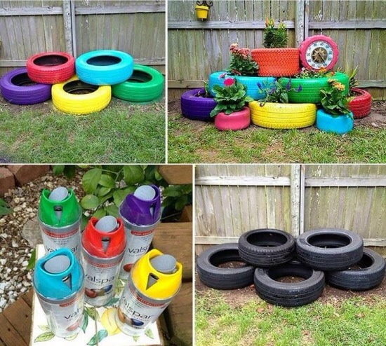 Spray paint old tires to add colour to your garden