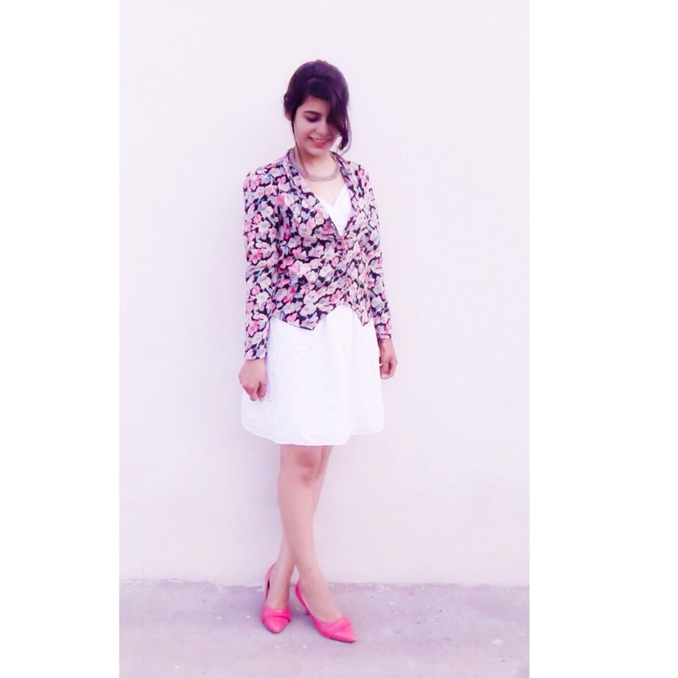 white cotton dress with floral coat