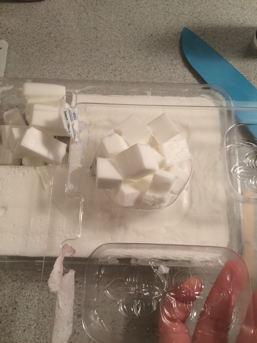 First thing to do is to cut your base soap in cubes and fill your mold to see aproximatly how much Soap You Will need to melt :)