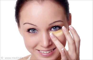 Massage groundnut oil or almond oil gently around the eyes.