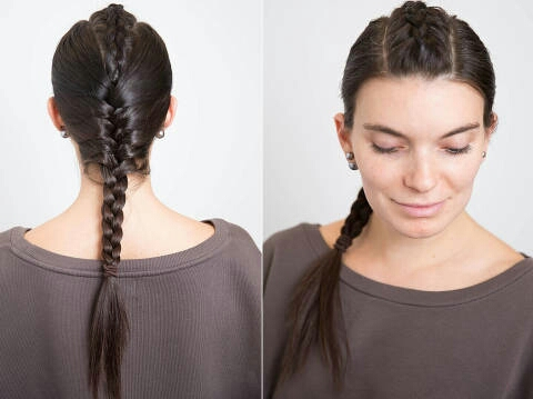 Section your hair into a 2.5-inch section down the center and Dutch braid it until you reach just below the crown of your head. Then, incorporate the rest of your hair and three-strand braid it until you reach the ends.